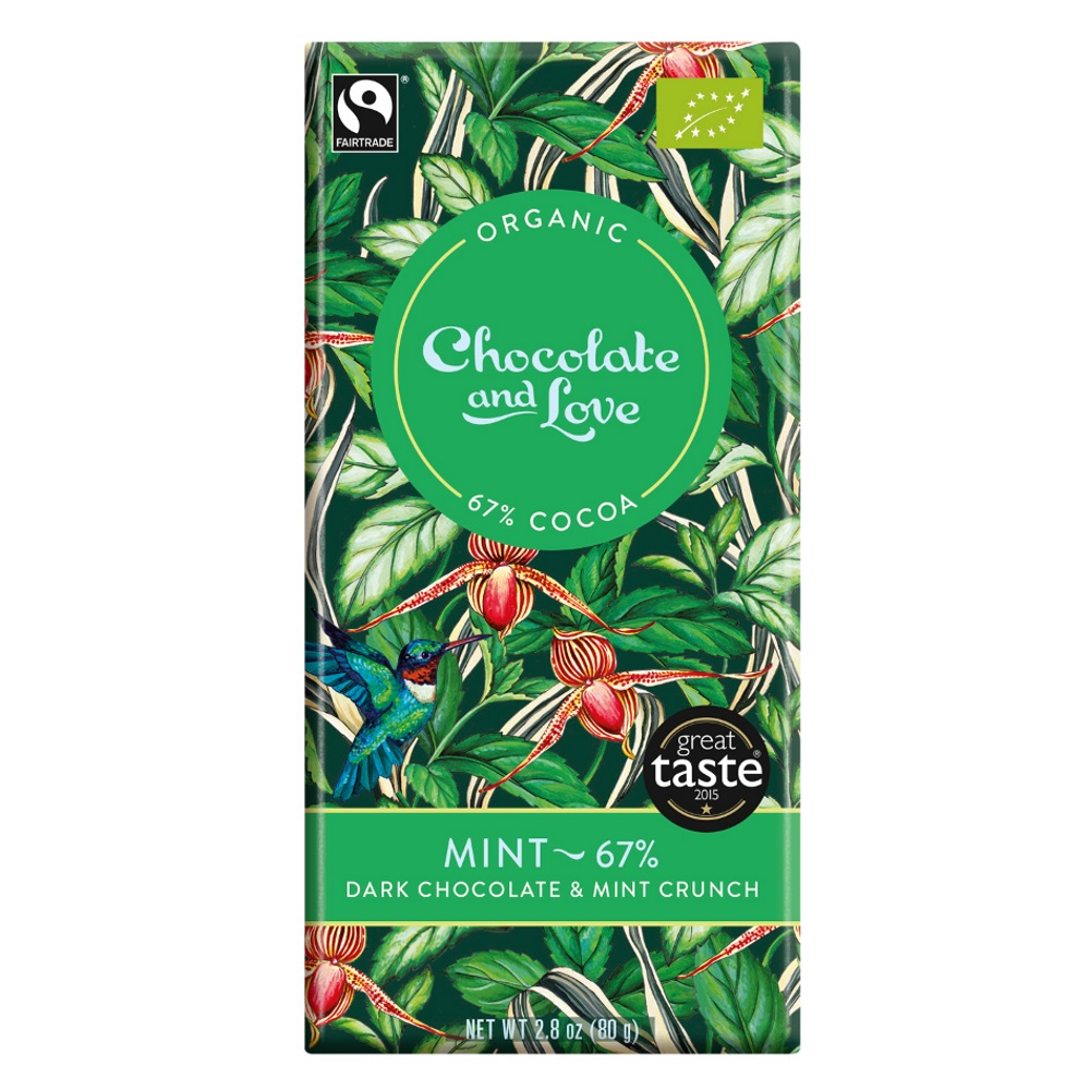 BIO hořká čokoláda 67% MINT 80g od Chocolate & Love