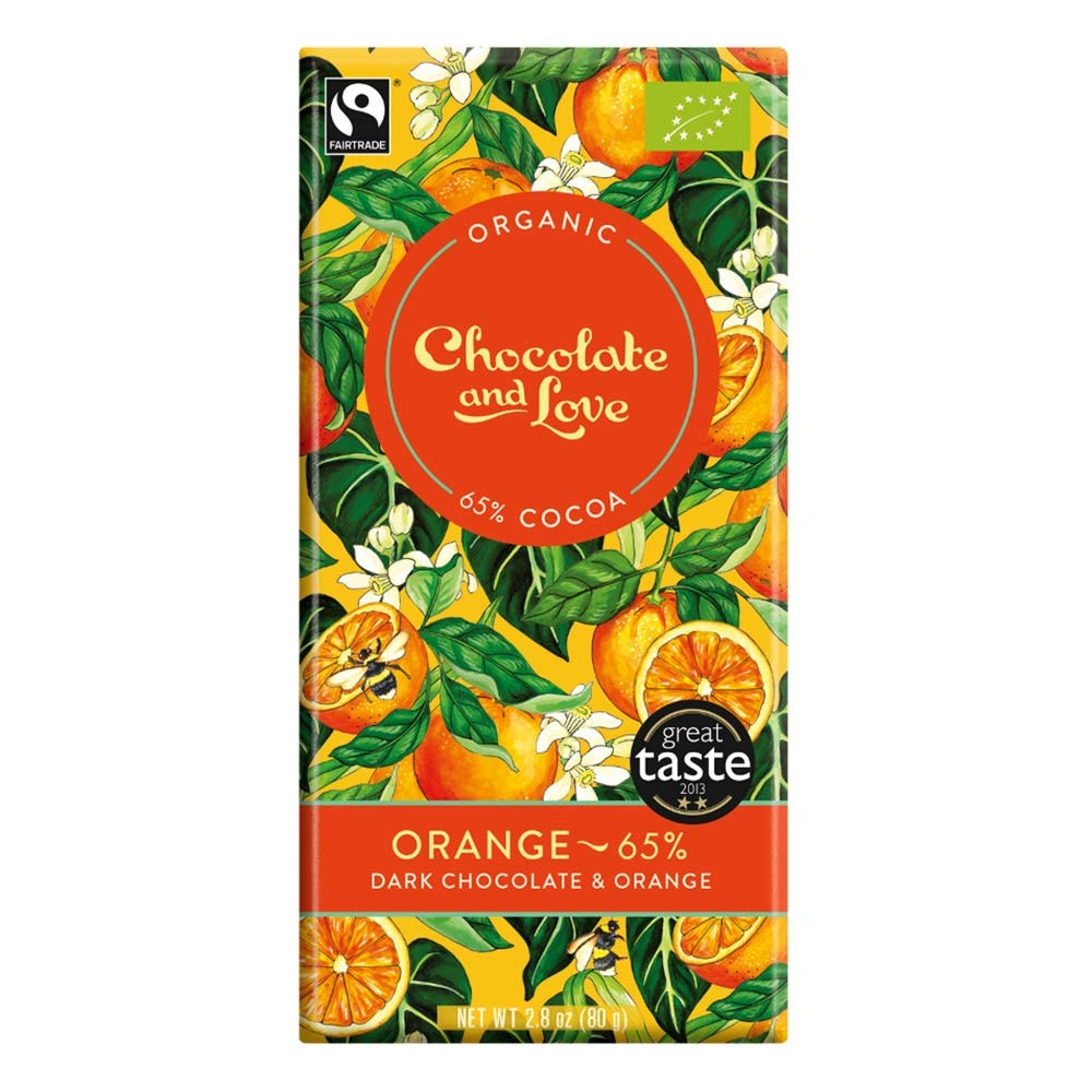 BIO hořká čokoláda 65% ORANGE 80g od Chocolate & Love