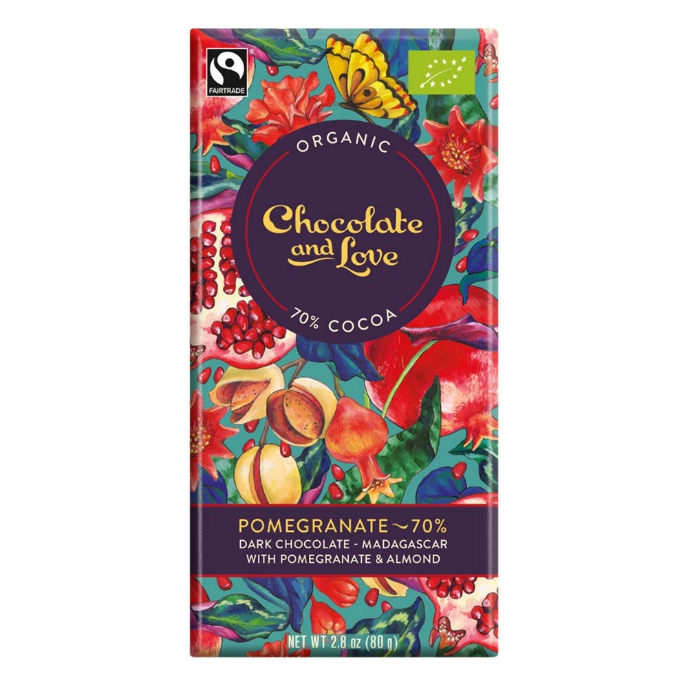 BIO hořká čokoláda 70% POMEGRANATE 80g od Chocolate & Love